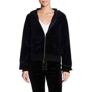 NWT PAM & GELA Black Velour Zip Up Jacket $195